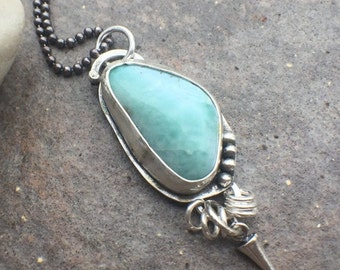 25% OFF - Sterling Silver Larimar Bold Necklace