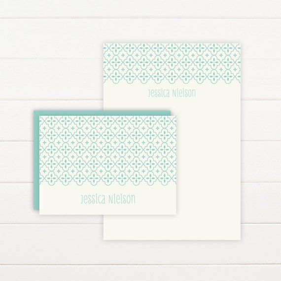 QUATREFOIL Personalized Stationery + Notepad Set, Personalized Notepad and Personalized Stationary