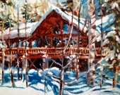 """Cabin Cottage Vacation Home Landscape Painting, 14 x 18"""""""