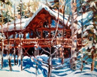 Cabin Cottage Vacation Home Landscape Painting, 14 x 18""