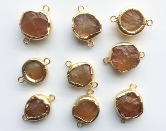 24 kt. Gold Plated Bezeled Yellow Brown Chalcedony Hammed Coin Connector, 1 piece