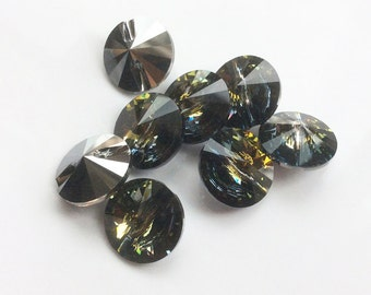 Genuine Swarovski Rivoli Button Crystal,  14mm - Black Diamond