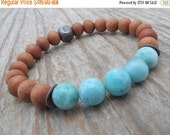 RESERVED FOR RHONDA larimar bracelet, sandalwood bracelet, stacking bracelet, gemstone bracelet, fragrant sandalwood, aqua gemstone