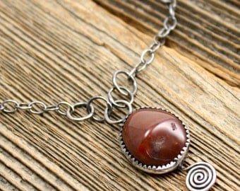 Agate Spiral Necklace in Lake Superior Agate, and Sterling Silver