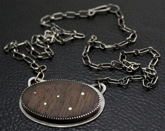 Cassiopeia Necklace in Sterling and Fine Silver and Walnut