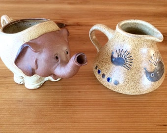 Animal Creamers. Elephant Creamer, Danish Modern Hedgehog Stoneware Creamer. Red Clay Giftcraft Japan, Vintage Signed Studio Pottery.