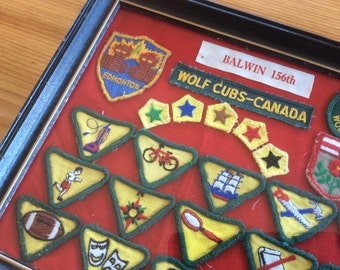 Vintage Cub Scout Badges in Frame. Canadian Wolf Cub Memorabilia. Retro Decor. Nostalgic Boy Scout Merit Badge Collection. Framed Wall Art.