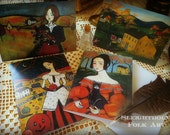 Autumn Halloween Cards 5x7 oversized greeting cards pack of 4