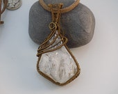 Large Herkimer Diamond Quartz Chunk Wire Wrapped in Vintaj Brass Parawire Pendant Bead Wire Wrapped Jewelry Handmade Ice Medallion Amulet
