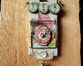 """Altered Mouse Trap """"Tea Time"""", Mixed Media, Art, Ornaments FREE SHIPPING!!"""