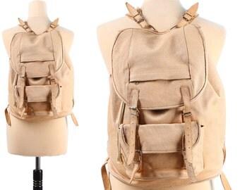 BEIGE Leather Backpack 80s Camel Brown Faded DISTRESSED Large Traveler RUCKSACK Vintage Hipster Festival Weekender Bag   Knapsack School Bag