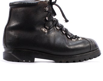 Combat Boots 80s MILITARY Mountain Mountaineering Men RAICHLE Swiss Alpine Heavy Black Leather size Men Us 7.5, Women Us 10, Eur 40.5, Uk 7