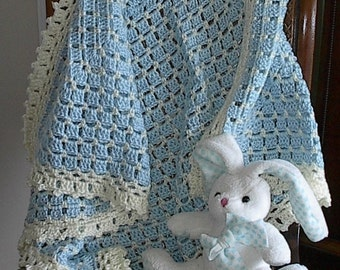 "Crocheted Baby Afghan Blanket - Blue with Cream Trim - 32"" x 32"" - Ready to Ship"