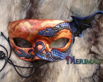 READY TO SHIP Blue Dragon Mask... original handmade leather masquerade costume galaxy mardi gras halloween burning man starry night
