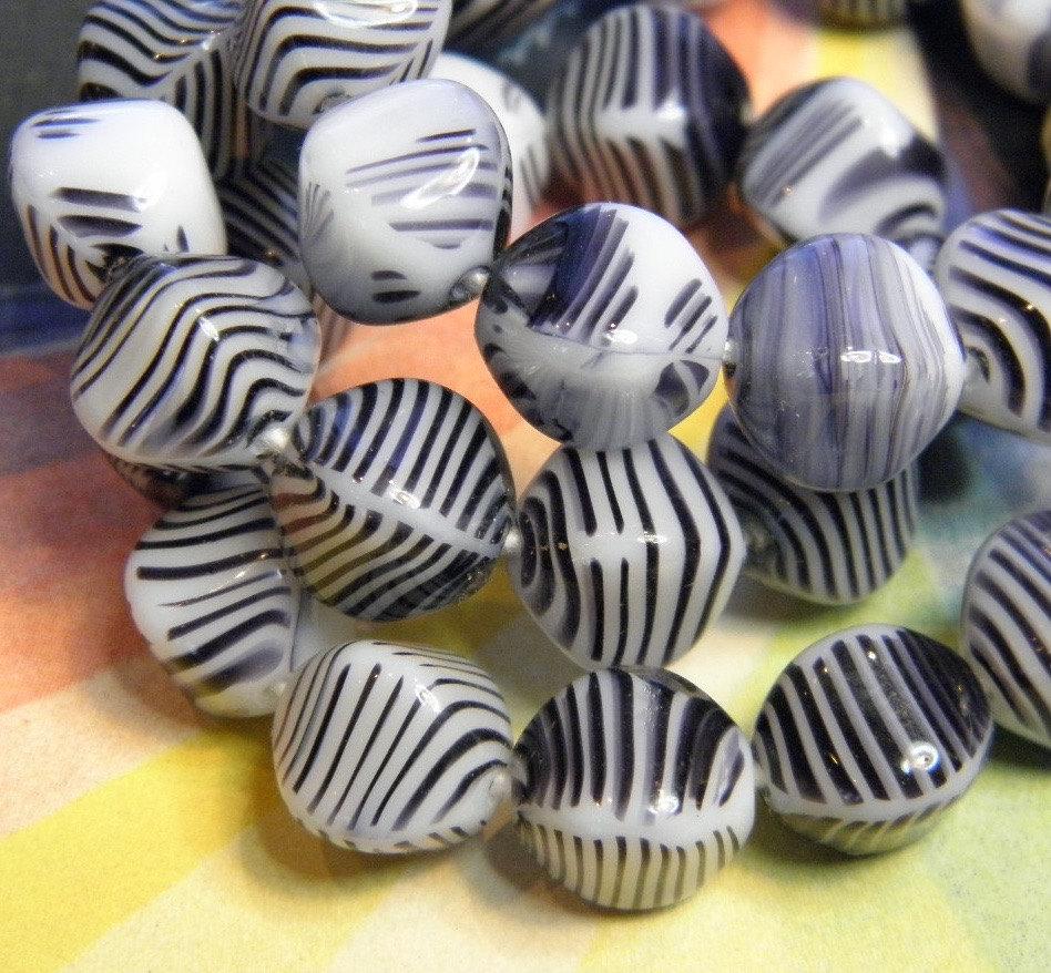 12 Vintage Striped Glass Beads Germany Zebra Stripe