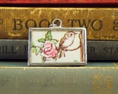 Bird and Pink Roses Pendant - Soldered Glass Charm w/ Vintage Tasha Tudor Book Illustration - Rose and Bird Charm - Literary Jewelry