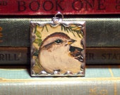 Tasha Tudor Sparrow Bird & Nest Pendant - Soldered Glass Charm w/ Vintage Tasha Tudor Book Illustration - Bird Nest Charm - Literary Jewelry