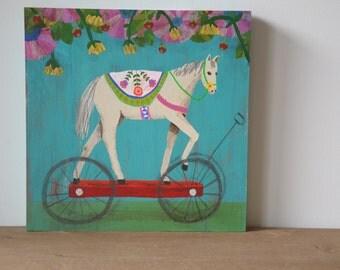 Horse Painting, Flowers, Folk, Spring, Parade