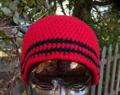 Red Winter Beanie Hat with Black Stripes
