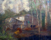 beautiful late 19th or turn of the century oil on board mill on pond landscape painting walnut frame early american original art primitive