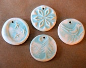 4 Handmade Ceramic Beads in Frosty Light Blue Matte - Moon, Snowflake, Forest in Moonlight and Bird Pendant beads