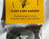 SAVE THE BEES, Plant a bee garden! Wildflower seed pack and handpainted and engraved honey bee stone
