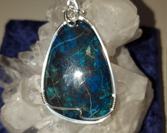 Stunning Chrysocolla Azurite Sterling Silver Wire Wrapped Pendant