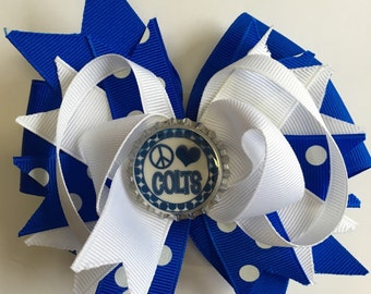 Boutique Colts Inspired Bottle Cap Hair Bow Clip