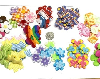 Lot of 100 padded appliques flowers butterfly crafting sewing #10