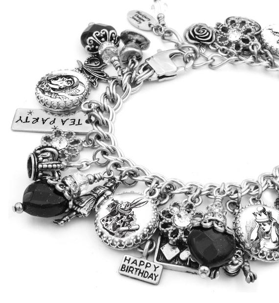 Alice in Wonderland Charm Bracelet, Silver Charm Bracelet, Alice in Wonderland Jewelry, Mad Hatter Jewelry, White Rabbit Jewelry