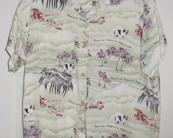 1990s BIG DOGS Short Sleeve Button Up Shirt-Boys Size Large