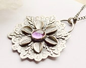 Botanical Silver Amethyst Pendant Necklace with Detailed Textured Silver, Flower Pendant, Oxidized Finish, Bohemian Style, Boho