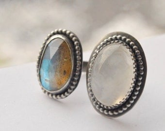 Double Stone Ring, Labradorite Ring, Rainbow Moonstone Ring, Handmade Sterling Silver Ring, Metalsmithed Silver and Stone Ring
