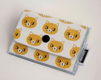 Handmade Vinyl Accordion Wallet - Curious / small wallet, snap, gift, cute wallet, card case, vinyl wallet, womens wallet, cats, kittens