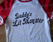 DIY Harley Quinn Shirt, Suicide Squad Daddy's Lil Monster Black Vinyl Iron-On Applique for Cosplay Halloween Costume