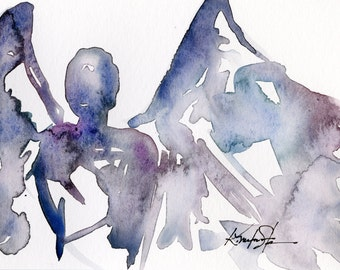 Calling All Angels No. 30 - Original Minimalist Abstract Watercolor Angel Painting by Kathy Morton Stanion EBSQ