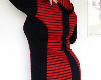 Red and Black Stripe Hoodie Tunic Plus Size Punk Cyberpunk Goth XL XXL 3X