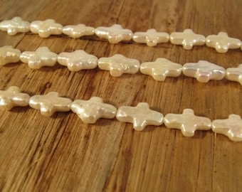 HOT SALE - White Freshwater Pearl Crosses, 16 Inch Strand of Pearl Beads, Drilled in Two Directions, 14mm x 8mm (P-C10)