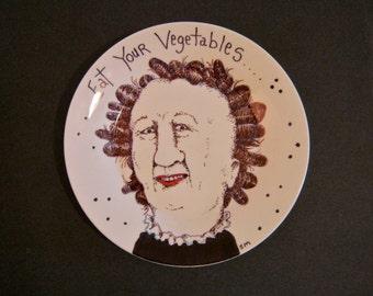 Hand painted Plate ,sandy mastroni,eat vegetables,original illustration weird home decor, Odd art, fun art, ceramic plate, by Sandy Mastroni
