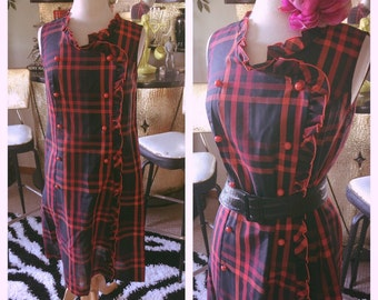 Vintage 1950s Dress red black plaid day pinup rockabilly 1960s M L 50s