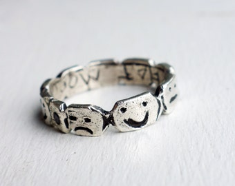 Mood Ring- Hand carved Face Ring with Happy, Meh and Sad, with or without black diamond