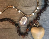 Vintage repurposed double strand heart and angel brown necklace