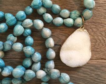Vintage repurposed one of a kind turquoise wood bead necklace and white druzy pendant