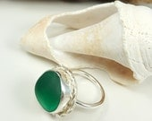 Kelly Green Teal Green Sea Glass Ring English Sea Glass Ring  Beach Glass Ring Size 8 - R-085