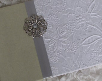 Personalized Wedding Guest Book, Soft Green Linen -  White embossed Textured floral with Silver embellishments, Hand-made Guestbook