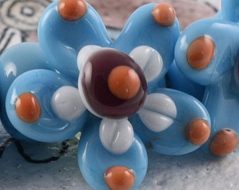 Handmade Lampwork Beads Blue Flower Beads