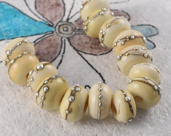 Handmade Lampwork Silver Ivory Beads