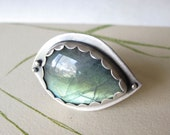 Labradorite Statement Ring sterling silver bezel set teardrop stone