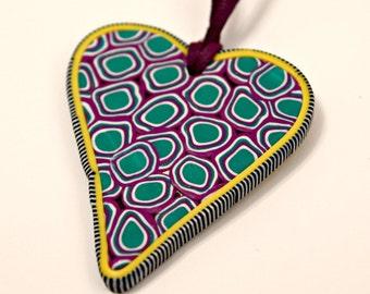 Handmade Heart Art Pendant In Whimsical Colors