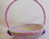 Pastel Purple/Pink/Green Easter Rag Basket with Dragon Fly